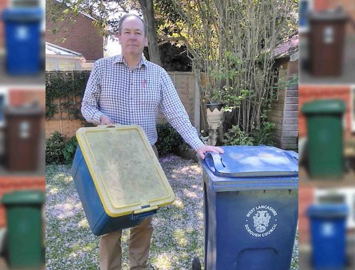Cllr Owens with blue box and bin